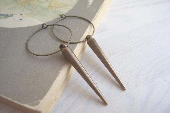 SALE Golden Spears earrings - long brass spikes on hoops - handmade