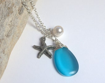 Long Silver Necklace with Blue Pendant, Starfish, and Pearl, Long Layered Silver Necklace, Long Pendant Silver Necklace #885