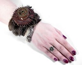 Steampunk Cuff Wrist Cuff Brown Faux Fur Leather Cuff Wood Clock Gears Brass Gears Glam ROCKER Punk Cuff - Steampunk Clothing by edmdesigns