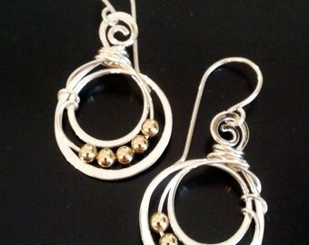Sterling silver earrings with gold filled beads