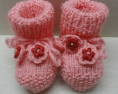 Pink knitted Baby booties handmade for 3-6 months by artefyk tagt team
