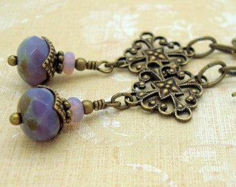 Neo Victorian Earrings with Purple Dangles and Brass Filigrees