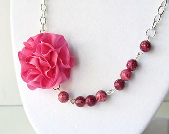 Pink flower necklace, statement necklace, wedding jewelry, bridesmaid jewelry, silk rose necklace, pink beaded necklace