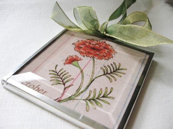 October - Birthday Month Flower -  Marigold - 3x3 Beveled Glass - Art Print Ornament-Birthday Gift for Mom-Friend-Sister - Floral Flora Art