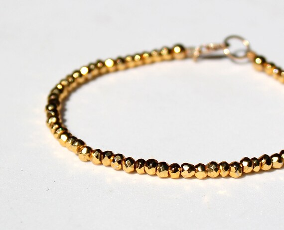 Pyrite Fool's Gold Bracelet Delicate Gemstone Sparkle Gold Filled Handmade Jewelry, Gold Pyrite Bracelet, Simple Gold Bracelet Gemstone