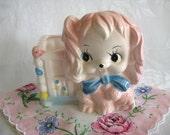 Vintage Nursery Pottery Pink Dog Planter
