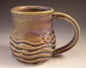 Hand Made Pottery Wave Mug/Blue Pottery Coffee Mug/Cup