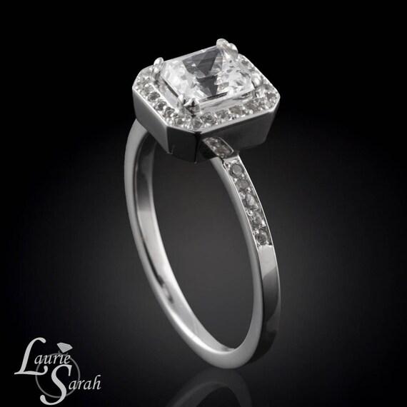 Engagement Ring, Radiant Cut White Sapphire Engagement Ring - Perfect Diamond Alternative - LS1492