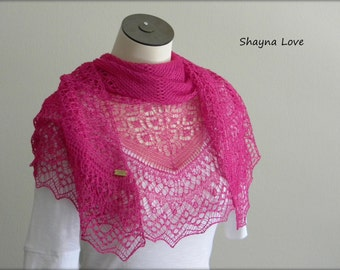 Silk Lace - Knit by hand - Hot pink triangular shawl