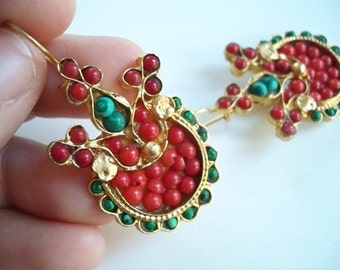 Coral and Malachite Earring