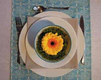 """Table Runner, Turquoise, Amy Butler, Organic Cotton, 14""""x74"""", Table Linens"""