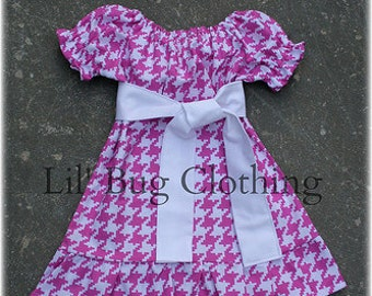 Pink Houndstooth Peasant Dress Sizes 12 18 24 2t 3t 4t 5t 6 7