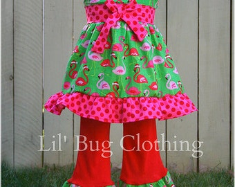 Custom Boutique Christmas Flamingo Santa Jumper Top and Pant Set Girl Pageant Holiday Outfit