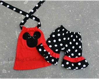 MInnie Mouse Outfit, Red White Black Polka Dot Minnie Outfit,  Minnie Mouse Short & Halter Top Outfit,