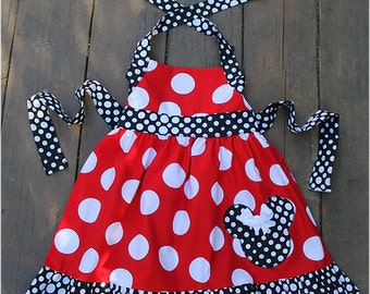 Custom Boutique Clothing Minnie Mouse Big  Dot Red Black Halter Swing Dress