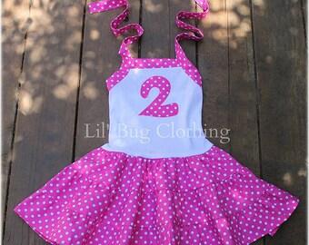 Hot Pink White Polka Dot Girls Dress, Hot Pink White Dot Girls Birthday Summer Dress, Girls Personalized Dress Outfit