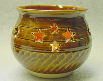 Amber Wheel Thrown Pottery Votive Candle Holder Luminary with Star CutOuts