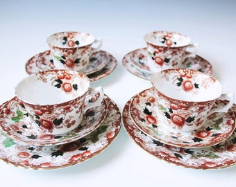 set of four 12-pc set cup, saucer and bread plate red floral porcelain by Phoenix China made in England