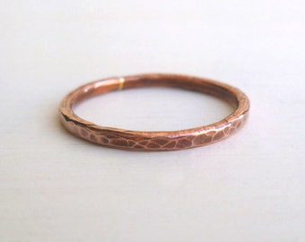 Copper Stacked Ring - Hammered - Custom Ring - Textured - Rustic - Minimalist - Stackable - Handmade - Organic -Copper Ring - Stackable Ring