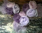 Bridesmaids Purples Floral Hair Fascinators Set of Three