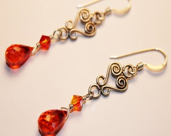 Orange Earrings, Swarovski Crystal Earrings, Cubic Zirconia, Sterling Silver, Ready To Ship, Shimmer Shimmer