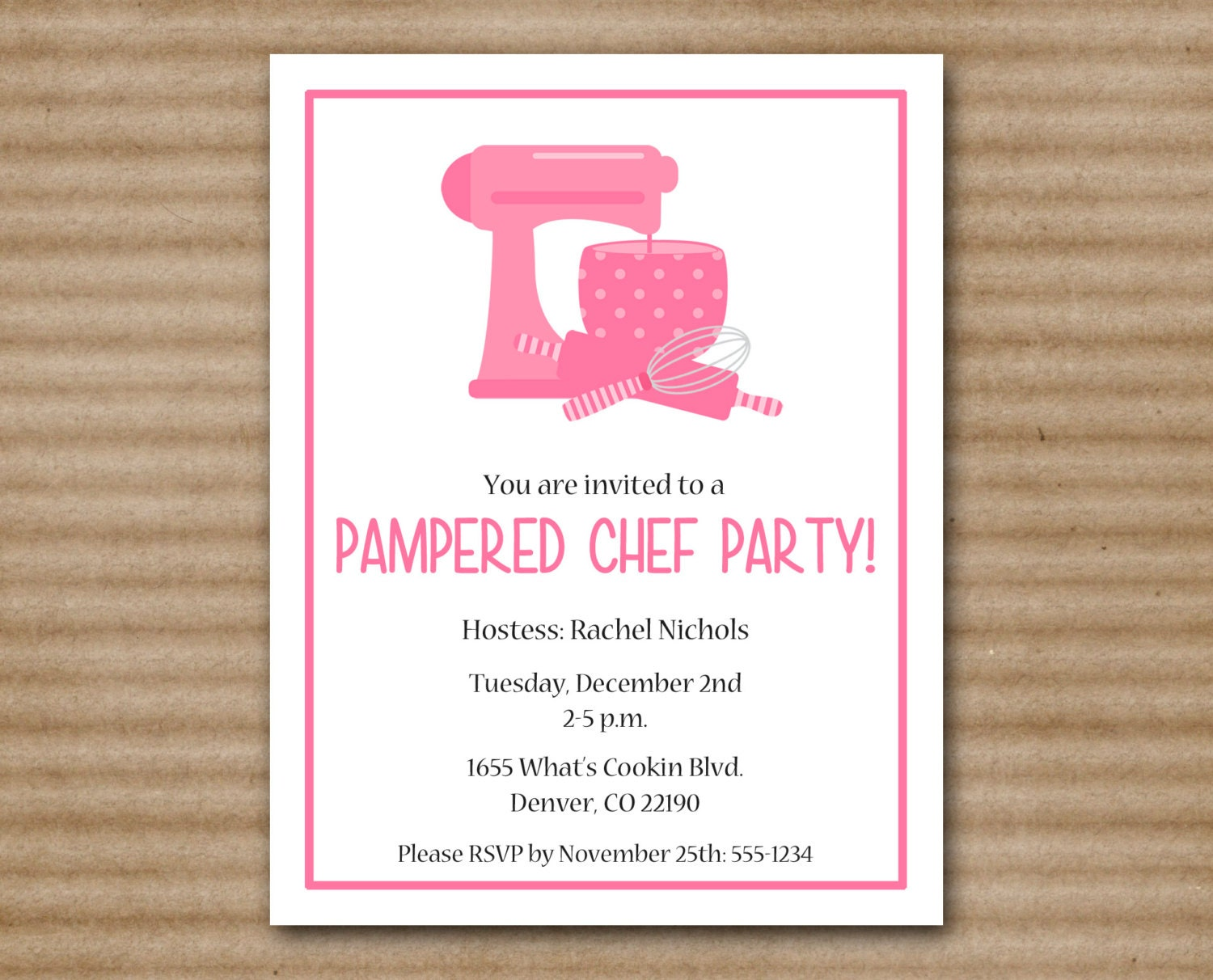 items similar to pampered chef party invitation for pampered chef invitation template. Black Bedroom Furniture Sets. Home Design Ideas