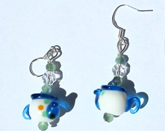 Teapot lampwork Glass Earrings Blue and White