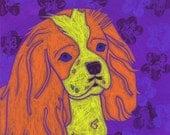 King Charles Art - King Charles Spaniel Print - Dog Pop Art - by Angela Bond