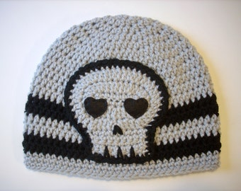 Skull Beanie Hat Gray Mist and Black skull cap handmade crochet hat beanie unisex teen men women SHIPS NOW