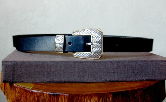 90's Black Leather Metal Lattice Style Silver Buckle Belt