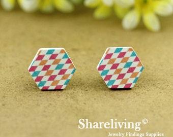 Buy 1 Get 1 Free - 20pcs 16mm  Hexagon Handmade Photo Wood Cut Cabochon   -- HWC401F