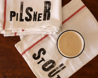 Beer Towels / Beer Lovers Towel Set 4 / Tea Towels / Gifts for Him / Dad / Home Brewer / Bar Linen / Pub