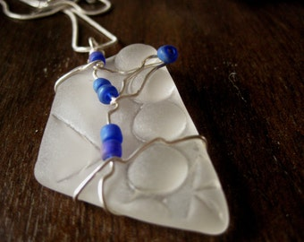 CHUNKY beach glass inspired vintage pressed glass pendant wired wrapped and whimsical