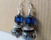 Royal Blue Czech Glass and Handcrafted Lampwork Glass Beaded Sterling Silver Earrings