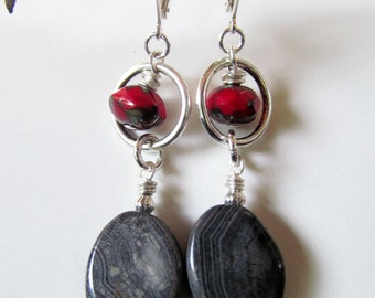Red Czech Glass and Gray Petrified Wood Beaded Sterling Silver Leverback Earrings