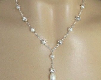 Bridal Necklace - Pearl Necklace - Crystal Rhinestone Fireball and Pearl Necklace in White or Ivory Pearls - Y Necklace - Wedding Jewelry