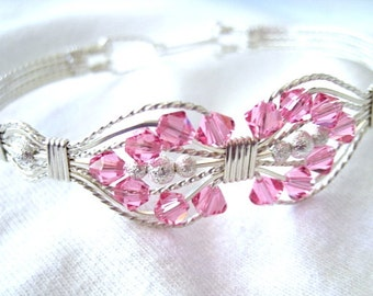 Rose Swarovski Bicone Beads and Sterling Silver Wire Wrapped Bracelet