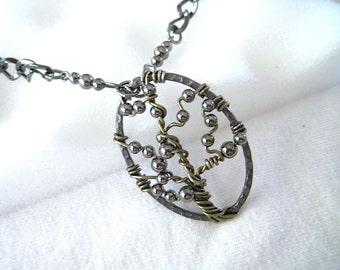 Tree of Life with Gunmetal Beaded Chain Necklace  Handmade