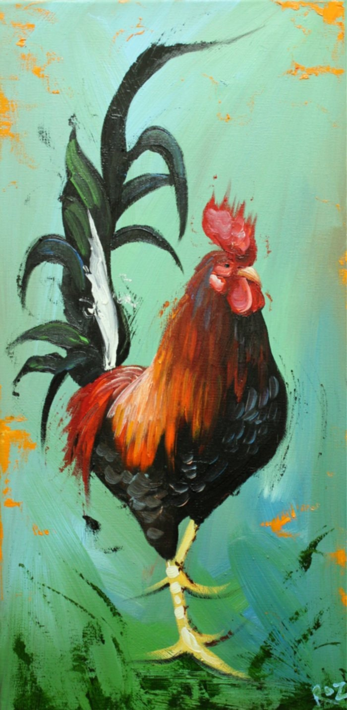 Rooster 694 12x24 inch original animal portrait oil painting for Animal oil paintings