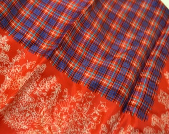 Vintage Scarf Red with Blue Plaid Center  25 inch Sq