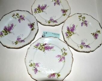 Antique Wm Guerin Plates Lilac Sprays Gold Trim Set of 4
