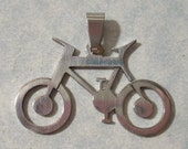 Bicycle Pendant - 39 x 26mm Stainless Steel Bike Pendant