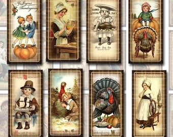 Fall AuTUMN THaNKSGiViNG 1x2 inch vintage Art -Instant Download- Printable Collage Sheet JPG Digital File- Domino Size  - New Lower Price