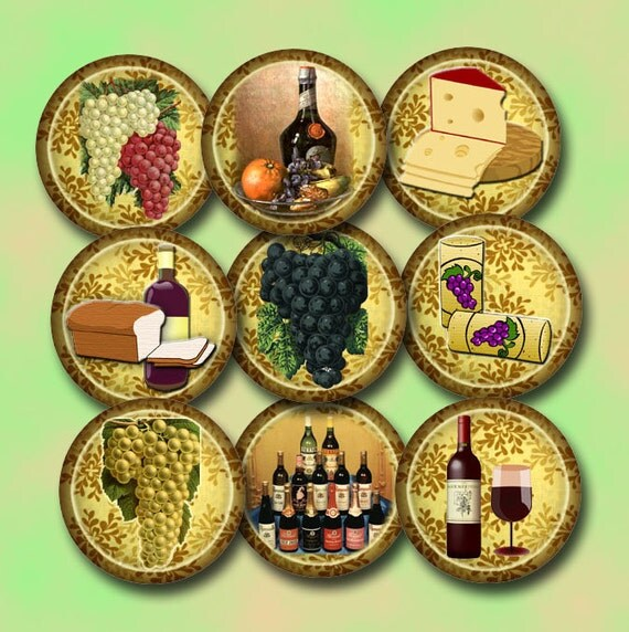 Vineyard grapes wine cheese 1 inch circles for bottlecaps for Buy grape vines for crafts