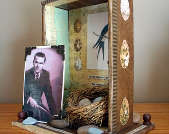 Remembrance Art Shrine made with Cigar Box and mixed media items PDF Tutorial
