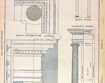 Architectural Drawings - Ionic Order - 1904 Vintage Book Plate - American Vignola