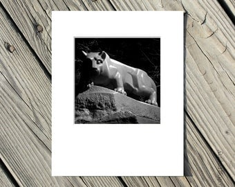 Black and White Photography, Penn State Lion Shrine Photo, Nittany Lions, PSU, Matted, 5x5 inch photo matted to 8x10 inches