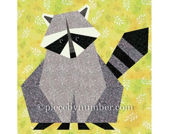 Raccoon quilt block pattern, paper pieced quilt patterns, woodland animal, instant download PDF, raccoon quilt pattern, nursery decor