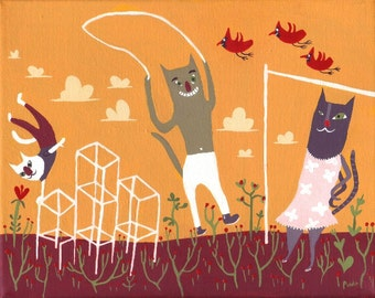 cat art painting playing in playground jungle gym jumping rope kidu0027s room - Cat Jungle Gym
