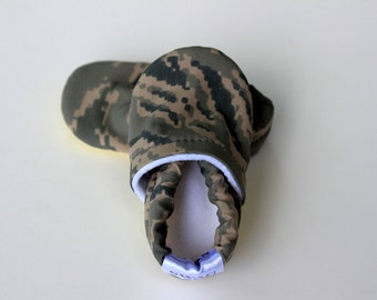 Baby Booties Boy Girl ABU Air Force Camouflage Infant Soft Soled Shoes Slippers gift olive green and brown grey gray Military Camo SWAG